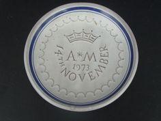 Rye Pottery commemorative small dish-Wedding Princess Anne & Mark Phillips 1973