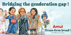 View Amul Bridging The Genderation Gap Transform Bread Advertisement newspaper. This Ad is collection of Sample Ad at Advert Gallery. Utterly Butterly, Slogan, Gap, Nostalgia, Advertising, Bread, Gallery, Equality, Postcards