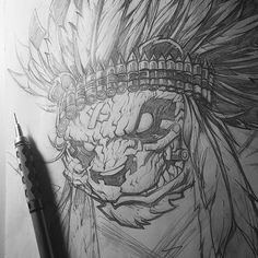 Pencils just about done for this one... #panda #bullet #headdress #bitethebullet #romidion #daynehenry #designer #design #illustration