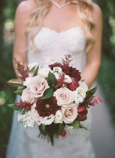 Burgundy dahlias, peonies, champagne roses, astilbe wedding bouquet