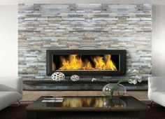 Heart   modern stone fireplace: beautiful contemporary living room with dry stacked stone fireplace