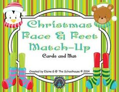Christmas Face & Feet Match-Up Cards and Mat from The-Schoolhouse on TeachersNotebook.com -  (5 pages)  - A fun game for matching Christmas character faces with their feet.  Just the cards can be matched or they can be matched on the game mat.  Perfect for lots of Christmas fun!!