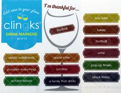 Clingks 12 Drink Markers- I'm Thankful For