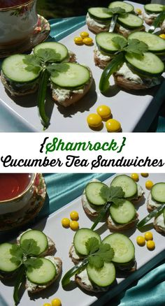 Shamrock Cucumber Tea Sandwiches. Easy, delicious and healthy snacks to make for St. Patrick's day. | from willcookforsmiles.com