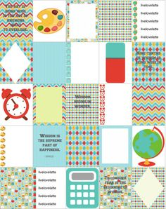 Back to School Argyle Chevron Wisdom Erin Condren (Vertical) Planner Stickers - digital - INSTANT DOWNLOAD by LiveLoveLatte on Etsy