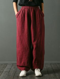 Pure Color Elastic Waist Pants