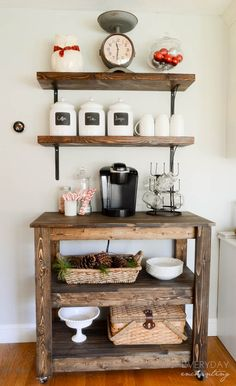 love this idea for a guest room...all guests need away time and coffee in the morning, and under the two shelves, I would place extra towels and linens..