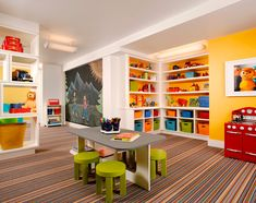 Love the color scheme, the built ins, and the fun carpet!