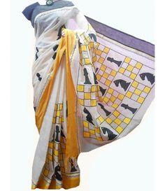 Off-White Block Print Kerala Cotton Saree Hand Painted Sarees, Hand Painted Fabric, Saree Painting, Fabric Painting, Saree Jewellery, Fabric Paint Designs, Kerala Saree, Kalamkari Saree, Silk Cotton Sarees