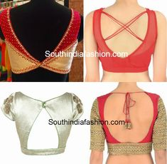 Blouse Back Neck Patterns – Latest saree blouse back neck designs. Blouse Back Neck Designs, Sari Blouse Designs, Saree Blouse Patterns, Blouse Styles, Blouse Neck, Lehenga, Sarees, Latest Saree Blouse, Blouse Desings