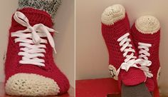 crochet converse slippers.  For Jacob & Hunter.  I bought a pair of slippers at a craft fair - she had non-skid pieces on the bottom she said she bought at WalMart, Would want to add something like that.
