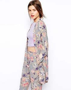 Coordinated Separates - ASOS Longline Soft Jacket in Watercolour Floral Print