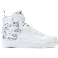 Nike SF Air Force sneakers ($169) ❤ liked on Polyvore featuring shoes, sneakers, white, white sneakers, nike shoes, laced up shoes, high ankle sneakers and leather shoes