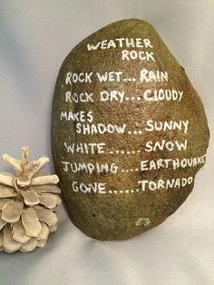 Weather or forecasting rock stone garden painted funny rock