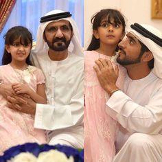Sheema bint Nasser bin Hamad Al Khalifa con su abuelo, Mohammed bin Rashid bin Saeed Al Maktoum, y su tío, Hamdan bin Mohammed bin Rashid Al Maktoum, 08/07/2015. Vía: nasser13hamad