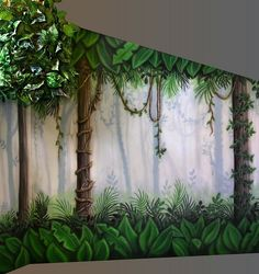 Image result for painting mural forest waterfall ideas