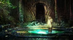 Artwork from Witcher 2 Enhanced - the lovers' pool.