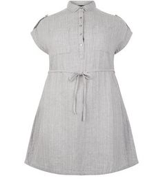 """Curves. For an effortless everyday look opt for this grey belted shirt dress. Pair with plimsolls for a relaxed finish.- Soft linen blend- Tie waist- Collared neck- Button front fastening- Cap sleeves- Casual fit that is true to size- Mini length- Model is 5'9""""/180cm and wears UK 18/EU 46/US 14 Created for women of size 18 to 28/EU 46 to 56**Selected styles are available up to size 32/ EU 60"""