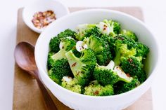 Bright green broccoli with a hint of chilli and garlic makes for a colourful and tasty side dish.