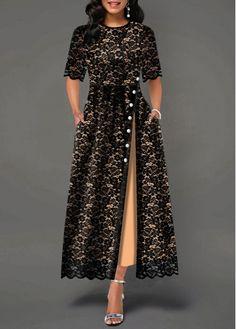 Party Dresses For Women Half Sleeve Split Side Button Detail Lace Maxi Dress Half Sleeve Dresses, Half Sleeves, Women's Dresses, Dresses Online, Dresses For Sale, Dress Sale, Trendy Dresses, Evening Dresses, African Fashion Dresses