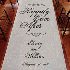 Exclusive From This Day Forward Personalized Wedding Aisle Runner are a unique way to make your ceremony extra special. It comes with attached cord handles and a double sided adhesive tape to secure it in place. Add instant romance with a sprinkle of rose Wedding Ceremony Chairs, Aisle Runner Wedding, Blue Wedding Decorations, Wedding Wishes, Happily Ever After, Personalized Wedding, Wedding Ideas, Damask, Amanda