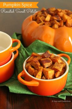 Pumpkin Spice Roasted Sweet Potatoes is a gorgeous blend of color and flavor, and a wonderful dish to start the Fall season. Fall is here, as is all things pumpkin spice. Pumpkin Crisp, Pumpkin Soup, Canned Pumpkin, Pumpkin Recipes, Pumpkin Spice, Whole Roasted Chicken, Roasted Sweet Potatoes, Thanksgiving Recipes, Fall Recipes