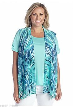 Kim Rogers by Belk Plus Size Printed 2-For Sleeveless Cozy 2X Mint Radiant Aqua #KimRogers #Blouse #Casual