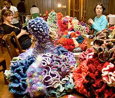 The Hyperbolic Crochet Coral Reef - still being made.