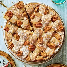 Cranberry-Apple Pie with Pecan Shortbread Crust | Savor the autumn flavors of cranberries and apples as they come together with a holiday favorite - pecan shortbread- in this stunning presentation. | #Thanksgiving Dessert Recipes