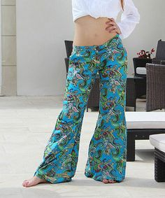 Loving this Turquoise & Green Palazzo Pants on #zulily! #zulilyfinds