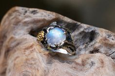 Sterling Silver Rainbow Moonstone Ring Cleo MADE by BlackTreeLab