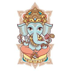 """Check out my art piece """"Hindu elephant head God Lord Ganesh. Hinduism. Happy Ganesh Chaturthi. Hand drawn paisley background. Indian, Hindu motifs. Henna tattoo, yoga, textiles, sticker. Cheerful colorful style."""" on crated.com"""