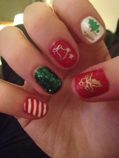 Christmas nails!  Orly Bonder base coat;  Avon Real Red;  Dolce & Gabbana Wild Green;  Essie Blanc, Good as Gold, No Place Like Chrome;  Zoya Holly;  Orly FX Mermaid Tale;  Sally Hansen Insta Dri Rapid Red;  BundleMonster stamping plates; SecheVite top coat