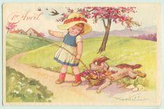 Clipart bambini ~ V castelli postcard asino donkey bambini children cv