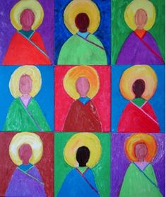 This would make a nice art project for All Saints Day: We did this project with friends, turned out great! Catholic Crafts, Catholic Art, Religious Art, Church Crafts, Fall Art Projects, Auction Projects, Art Auction, 6th Grade Art, Third Grade