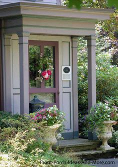 This small front porch caught our eye; thought the colors really make it stand out. Found on Front-Porch-Ideas-and-More.com #porch