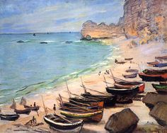 Boats on the Beach at Etretat / Claude Monet - 1883