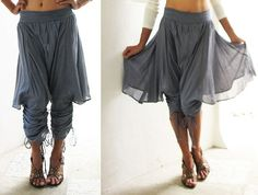 Helen PantsBlue/ Gray mix silk SL by cocoricooo on Etsy, $41.00