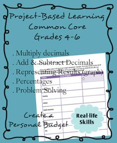 Project Based Learning - decimals and percents. Common Core 5th grade