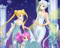Sailor Moon - petals, beautiful, neo queen serenity, rini, pretty, beauty, twin tails, sexy, anime, girl, female, nice, white, space, princess, usagi, princess serenity, usagi tsukino, serena tsukino, long hair, cute, lovely, serena, serenity, sailor moon, star, anime girl, hot, queen, family, dress