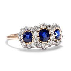 Um 1890: Antiker RING mit Saphir & Diamanten, 585 Gold & Silber, Verlobungsring