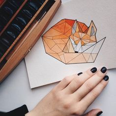 Origami Illustration Geometry Art New Ideas Fox Drawing, Drawing Sketches, Origami Tattoo, Origami Owl, Geometric Drawing, Geometric Fox, Geometry Art, Fox Art, Cute Drawings