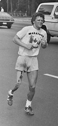 """Born today (July 28 1958)... Terrance Stanley """"Terry"""" Fox CC OD was a Canadian athlete humanitarian and cancer research activist. In 1980 with one leg having been amputated he embarked on an east to west cross-Canada run to raise money and awareness for cancer research."""