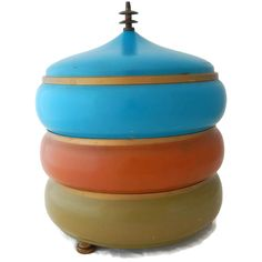 Stacking Metal Canisters Atomic Aqua Turquoise Avocado Green Orange Pagoda Finial by EclecticVintager on Etsy