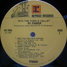RY COODER title Into The Purple Valley label Reprise / MS 2052 year 1972 format LP