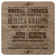 Bridal Wedding Shower Invitation - Rustic Vintage Burned Oak Wood