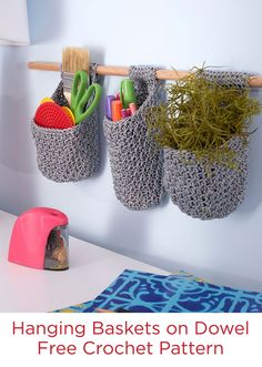 Hanging Baskets on Dowel Free Crochet Pattern in Red Heart Crochet Nylon -- Keep your supplies close at hand and looking nice with these baskets. They're great for air plants too!