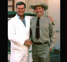 Larry Hagman with Barry Gorbin (Sheriff Fenton) - 1983