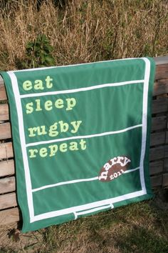 hehe I think I do at weekends jeje Personalized Baby Blanket - 'Eat Sleep Rugby Repeat'. Football Baby Blankets, Rugby Time, Rugby Quotes, Six Nations Rugby, Rugby Girls, Sports Advertising, Welsh Rugby, Senior Gifts, Personalized Baby Blankets