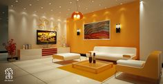 Choosing Living Room Colors: Captivating Yellow Accent Wall Colorful Art Living Room Colors Combining With Grey Paint Walls And Ceiling Lighting Also Contemporary Futuristic Sofa Sets Furniture ~ workdon.com Living Room Inspiration